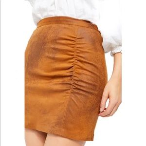 Free People Rumi Ruched Faux Leather Mini Skirt XS